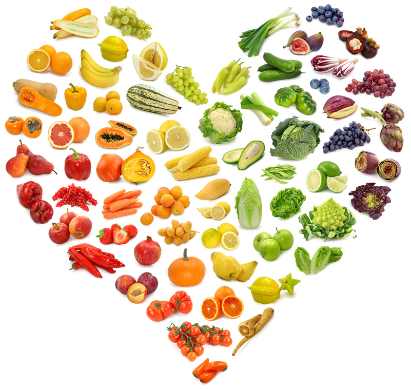 heart shape of fruits and vegetables