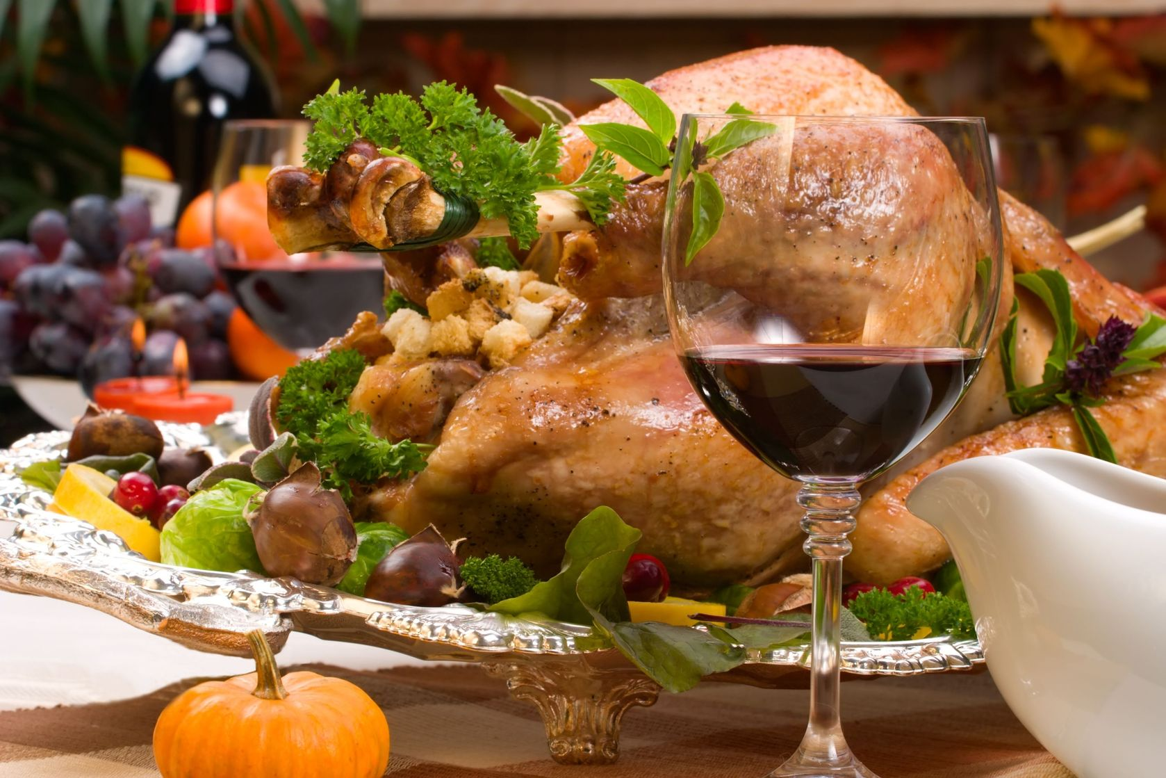 turkey with a glass of wine