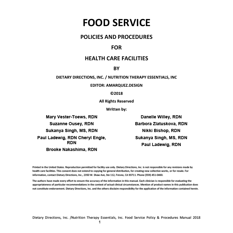 food service policies and procedures for healthcare facilities