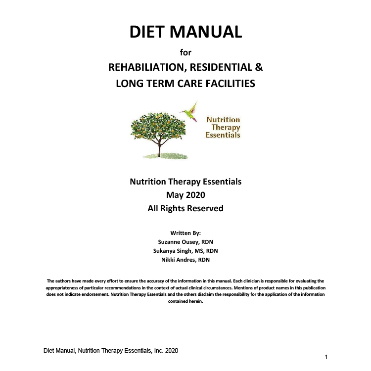 diet manual for rehab residential and long term care facilities